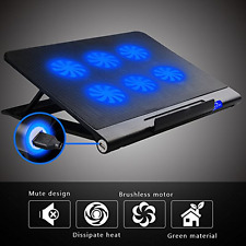 6 Quiet Fans USB Blue LED Laptop Cooler Cooling Adjustable Stand Pad 10-17 inch