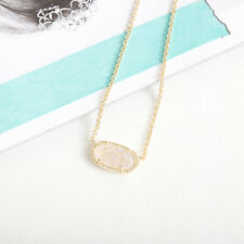 NEW Kendra Scott Elisa GOLD Oval Pendant Necklace in Iridescent Drusy