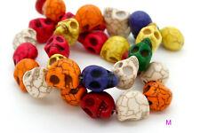 Skull Head Skullet Skullten Howlite Loose Gemstone Beads - Rainbow, White, Blue