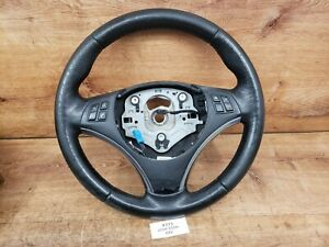 ✅ 07-11 OEM BMW E90 E92 Sport Style HEATED Steering Wheel Black Leather MANUAL