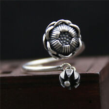 Vintage Antique 925 Sterling Silver Lotus Flower Dangling Open Adjustable Ring