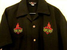 Men's Rockabilly Shirt Flaming Heart Johnny Suede Size Medium Dice Buttons New
