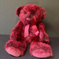 "Russ Berrie Russplus Red Black Teddy Bear 13"" Plush Stuffed Animal Bow Christmas"