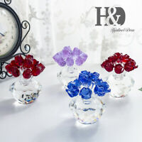 Crystal Flower Art Figurine Home Craft Ornament Glass Bouquet Flowers Gift-Boxed