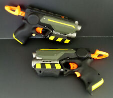 Black & Green Tactical Custom Painted Nerf Dart Pair of Guns for Cosplay & LARP
