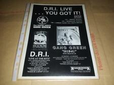 D.R.I. - Gang Green - Live - Tour/Album Advert - 80's,90's,00's Retro Art