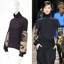 runway DRIES VAN NOTEN AW12 black silk gold oriental embroidered top FR40 US8 M