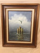ON THE SEA Original Oil Painting by R. Wilson  Framed / Very Collectible