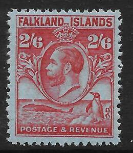 Falkland Islands 1929-37 Whale & Penguins 2/6 Carmine/Blue SG 123 (Mint)