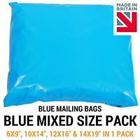 Mixed Pack of Blue Coloured Mailing Bags - Plastic Mail Postage Poly Packaging