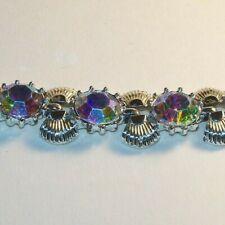 Vintage signed CORO AB iridescent Crystal Rhinestones Bracelet