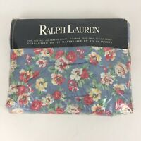 """Ralph Lauren Hope Floral 100% Cotton Twin Fitted Sheet New NIP Fits up to 14"""""""