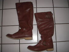 "Forever 21 Tall Cognac Stud Back Zip Size 9.5 Faux Leather 17"" Wide Calf Boots"