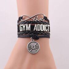 Gym Addict Fitness Leder Armband, Schmuck - Geschenk für Männer und Frauen