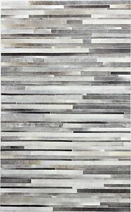 New Large Cowhide Rug Patchwork Cowskin Cow Hide Leather Carpet Gray.