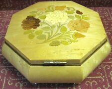 Vintage Inlaid Floral Marquetry Wooden Italian Jewelry/Music Box, Swiss Movement