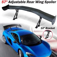 """Large 57"""" Carbon Fiber Color Adjustable GT Rear Trunk Spoiler Wing 10"""" Bracket"""