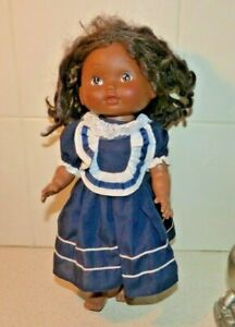 CUTE HARD PLASTIC VTG DOLL MARKED 86020 , CST-118 , M I CHINA IN NAVY BLUE DRESS