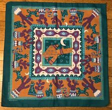 Springs Bandana Southwestern Wolf Cactus Moon Horse Tepee Teal Cotton Blend USA