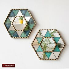Handcrafted Star of David Wall Mirror set 2, Painted glass Mirror with gold leaf