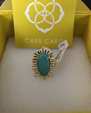 Kendra Scott Owen Ring - Gold Plated, Turquoise - Size 7 - New With Tags
