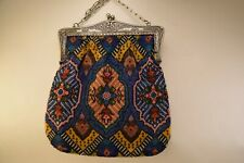 Antique Colorful Geometric Design Beaded Purse with Silver Frame