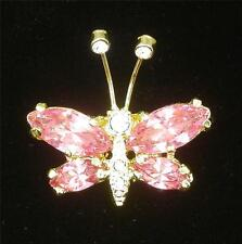 PINK Crystal Butterfly Pin