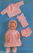 "Doll Clothes Knitting Pattern For The 14"" Doll 6 Piece Outfit Dress Sweater &"