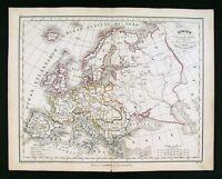 1835 Charle Map x 2 - Europe Political & Physical - Austria Italy Spain Britain