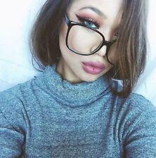 Oversized XL Clear Lenses Women Men SQUARE Large BLACK Frame Eyeglasses Glasses