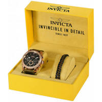 Invicta Men's Watch Aviator Chronograph Black Dial Brown Leather Strap 29799