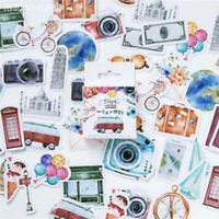 46Pcs Vintage Travel State Style Old Fashioned Suitcase Luggage Stickers FM