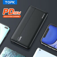 Topk 18W 10000mAH Fast Charging PD USB C Power Bank Thin Protable For Cell Phone