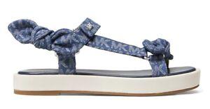 Michael Kors Phoebe Denim Logo Jacquard Bow Sandal