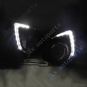 White 9-LED Daytime DRL j Lamp Bezel For Mitsubishi ASX/Outlander Sport 13-15