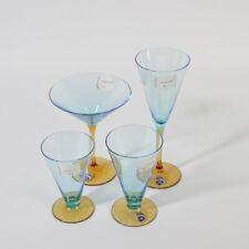 Murano Glas Konvolut Sammelgläser Trinkgläser 4 x Trichtergläser blau honig