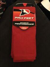 Pro Feet Socks Red Maximum Performance 2Pair Large Men's Shoe Size 4- 8.5