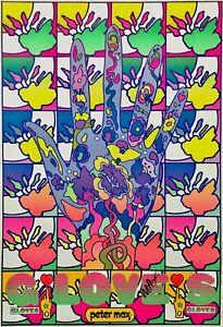 Gloves, Original 1969 Vintage Poster, Peter Max -SIGNED - RARE