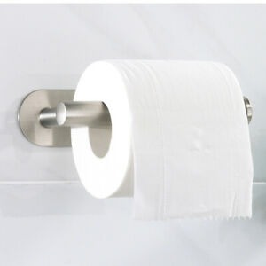 Toilet Roll Paper Holder Strong Self Adhesive Wall Mount Stainless Steel Stick