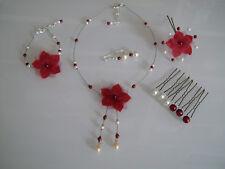 Parure Bijoux Bordeaux/Ivoire  p robe de Mariée/Mariage fleur collier (pas cher)