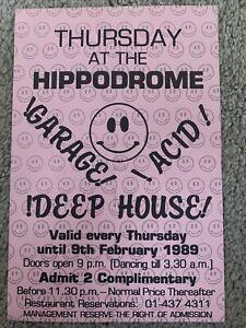 Thursday At The Hippodrome 1988 1989 Acid House Rave Flyer