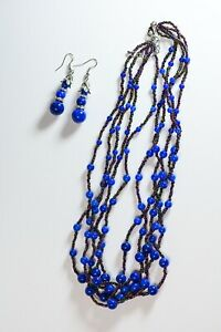 Lapis Lazuli Blue Glass White Austrian Crystal Earrings and Necklace Set TGW 135