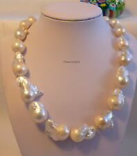 Sterling Silver Genuine 15-17mm Baroque freshwater pearls necklace white No.180
