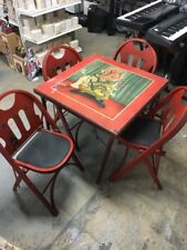 LOUIS RASTETTER & SONS , ANTIQUE , SOLID KUMFORT TABLE / 4 CHAIRS