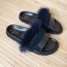Sacai Leather Black Footbed Sandals midnight blue fur black shearling 39 us 8.5