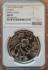 China Panda 1992 Small Date - S10Y 1 oz Silver NGC MS69