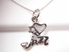 "I LOVE JAZZ Pendant 925 Sterling Silver Corona Sun Jewelry Saxophone as the ""J"""