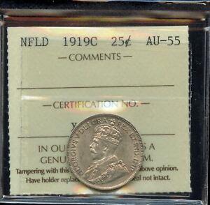 1919C Newfoundland Twenty-Five Cents - ICCS AU-55