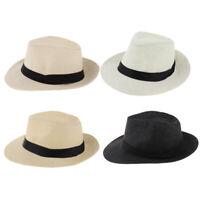 Men Lady Satin Straw Panama Hat Fedora Trilby Cap Sombrero Sunhat Wide Brim