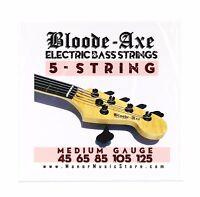 Bloode-Axe 5 STRING Electric Bass Strings medium gauge Nickel Wound Steel 45-105